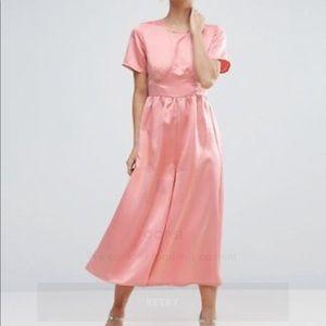 ASOS Pink Satin Capri Jumpsuit